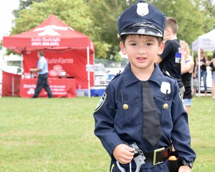 Josue Cortez, 3, dressed up as a police officer for the event.