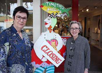 Photo by: Sarah Wilson - Timothy's Gallery owners Carolyn Luce, left, and Jill Daunno, right, are saying goodbye to the business that's brought them joy for the past 26 years on Park Avenue.