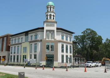Maitland's new City Hall rises above Independence Lane.