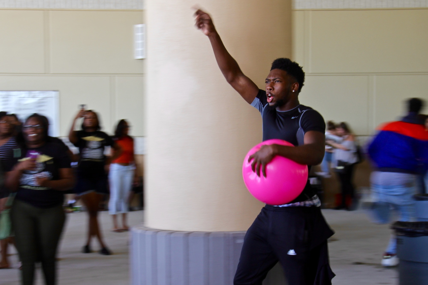 Dorian Jones rallied his classmates for a game of dodgeball outside in the parking lot.