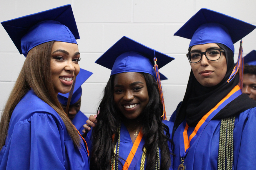 Diamond Jender, Kiara Jones and Jhanai Joly were happy they'd soon be able to say their final goodbye to high school.