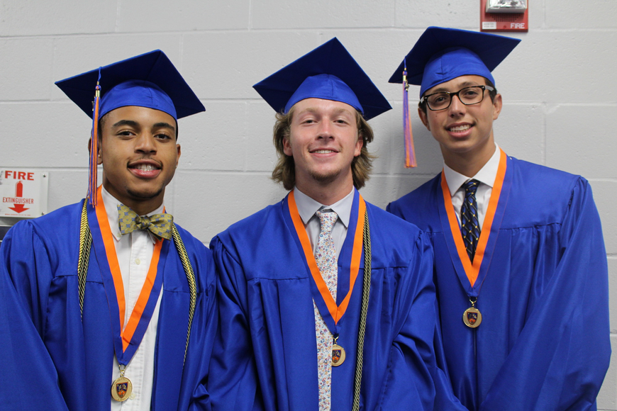 Graduating seniors Bobby Head, Matthew Rinks and Joshua Robinson patiently waited backstage for their time to make their entrance.