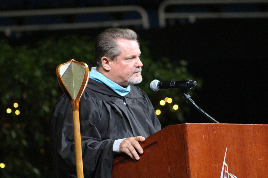 West Orange High School Principal Bill Floyd offered words of wisdom to the graduating seniors and recounted some memories of his time at West Orange.