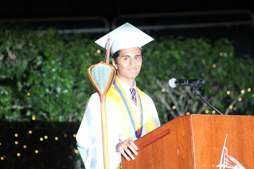 Senior class president Mahul Patel looked to the audience to thank his parents for their support in his high school education.