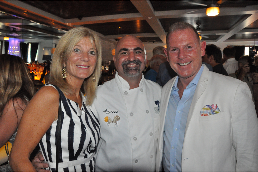 Susan Graham, Chef Vincent Gagliano and David Merritt gathered for a photo at the party.