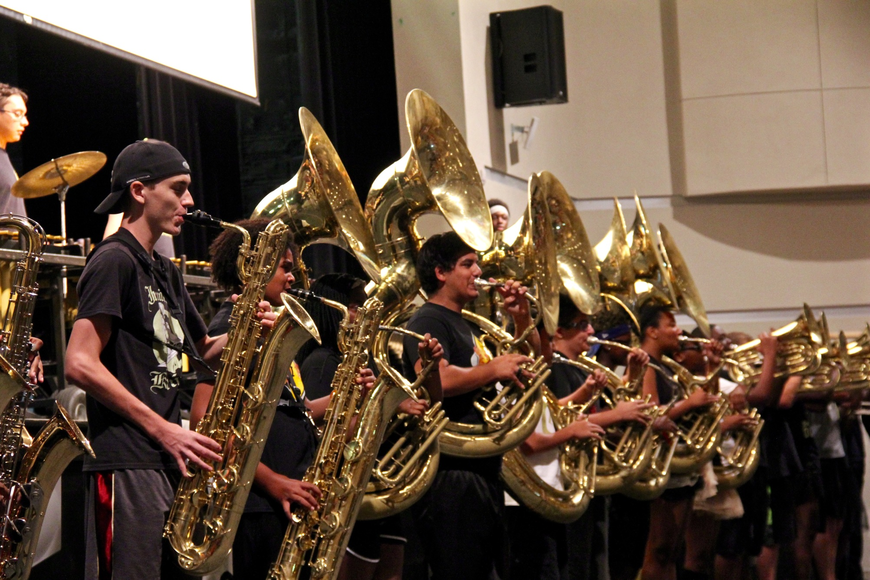 The marching band performed at the freshman orientation on Friday, Aug. 4.