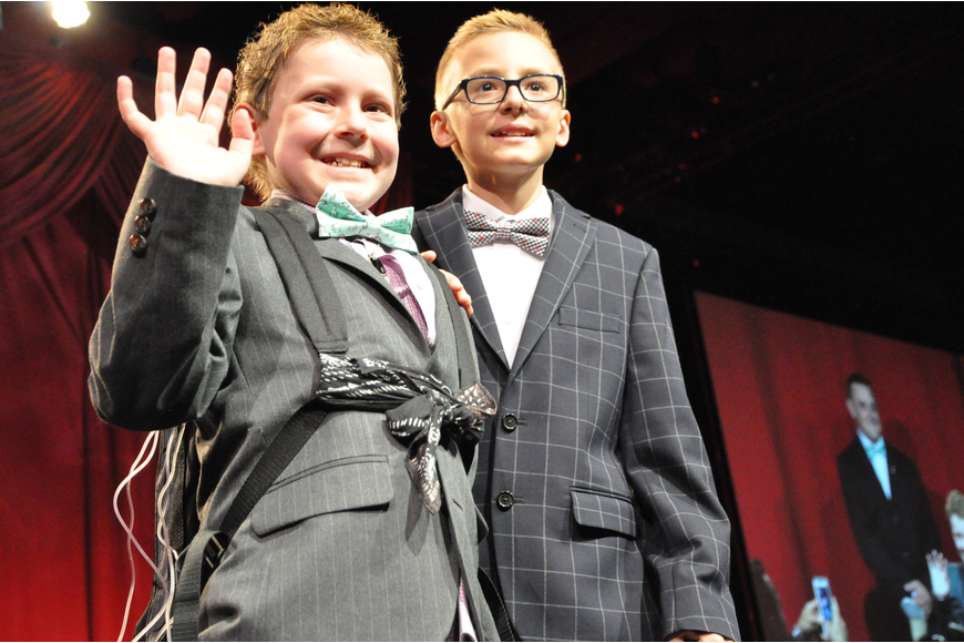 Survivors Jay, 10, and Grayson, 12, were given a hero's welcome at the event.