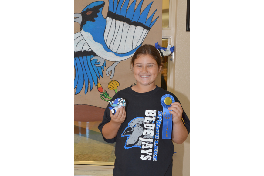 Trista Fitzpatrick received a blue ribbon for her creative bluejay.