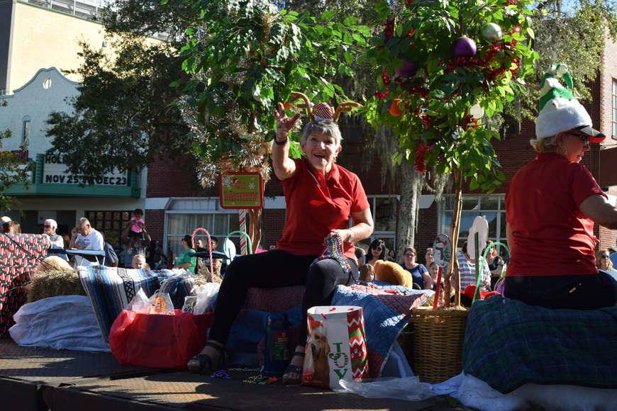 The West Orange Chamber of Commerce float distributed sweets to parade attendees.
