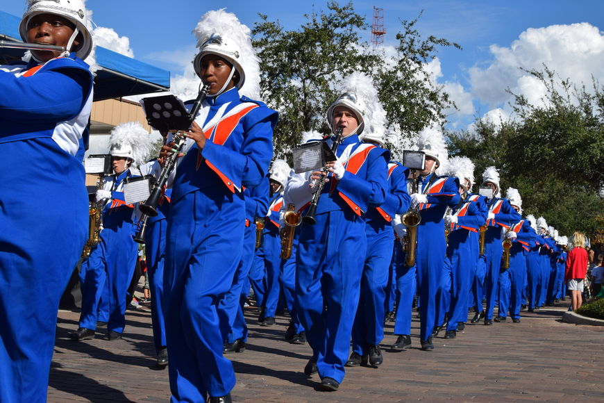 The West Orange High School Marching Band's clarinet ensemble.
