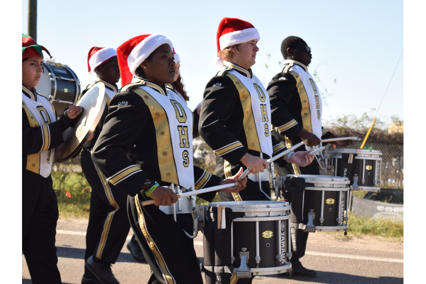 The Ocoee High School Marching Band performed festive tunes.