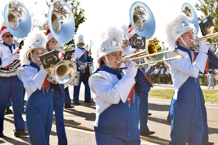 The West Orange High School Marching Band looked sharp and sounded great.