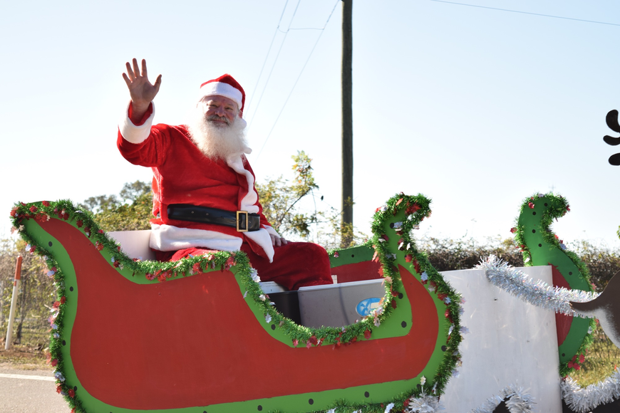 Santa Claus himself arrived in his sleigh toward the end of the parade.