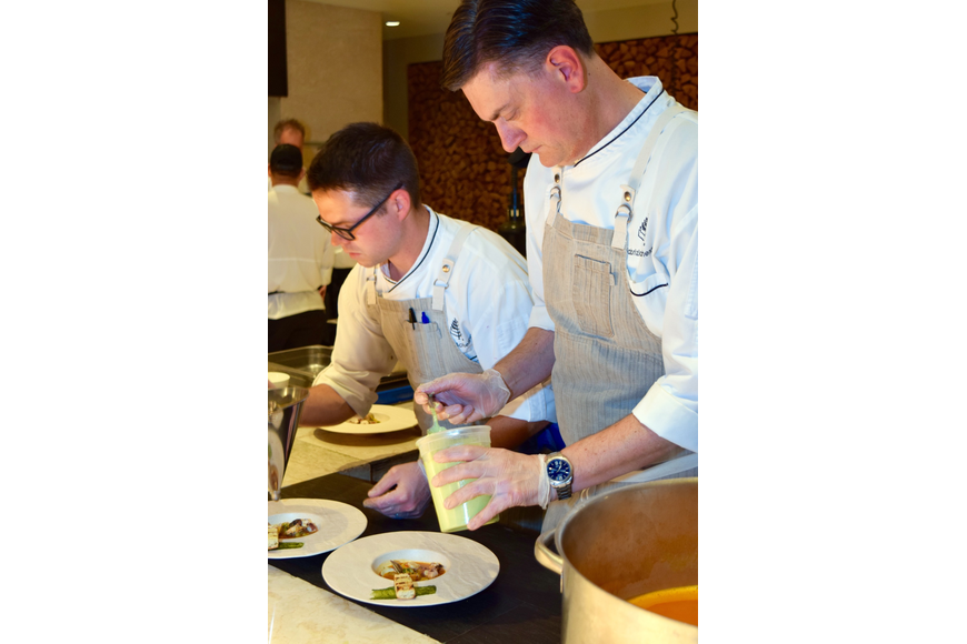 Chef Fabrizio Schenardi oversaw the final touches on each dish.