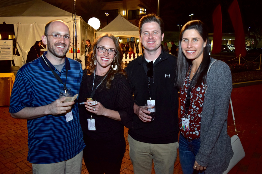 Michael Mokris, Annie Schnaus, Ben Imfeld and Alexis Koula chatted over their food and drink samples.
