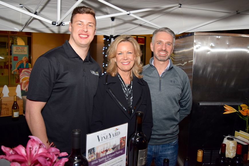 Jimmy Linden, Deb Linden and Matthew Hadley served samples for The Vineyard Wine Bar & Healthy Bistro.