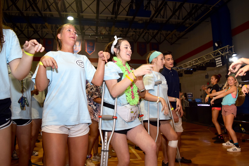 Students performed their morale dance each hour to keep spirits up.