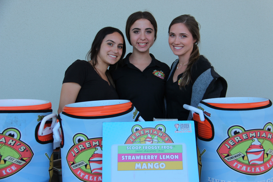 Left to right, Juliette Martinez, Shelby Costantini and Rachel Moore served up sweet treats, frozen treats at the event.