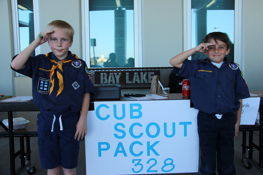 Adam Rondeau, left, and Tanner Kropinak sported their cub scout uniforms at the event.