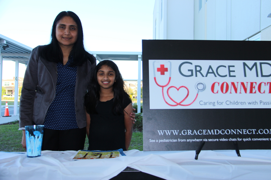 Dr. Deepa Sukumar and her daughter, Sarah, enjoyed the Spring Fling. Dr. Sukumar gave out brochures from her table at the event.