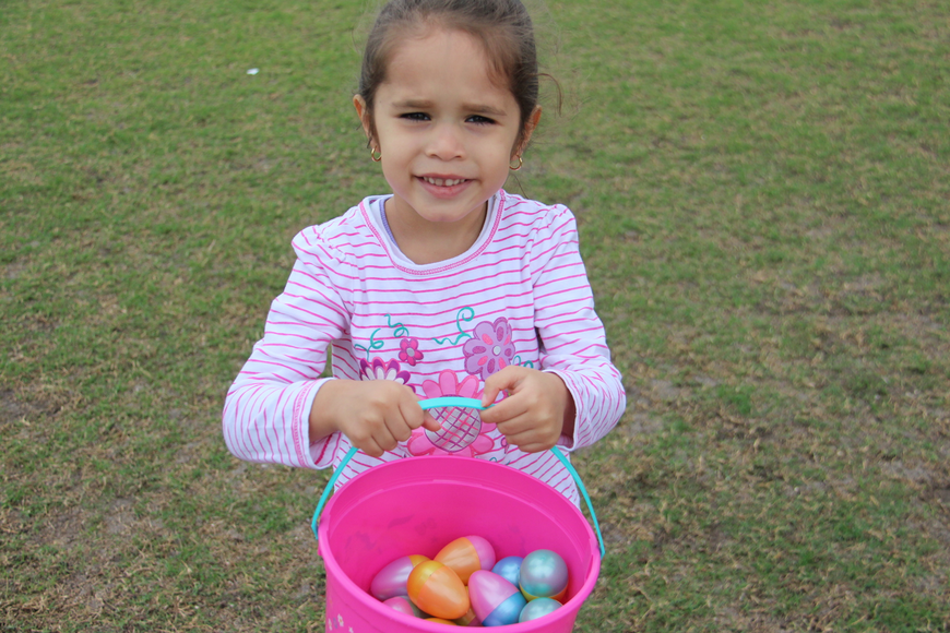 Eva Pastrana was happy that she filled her Easter basket.