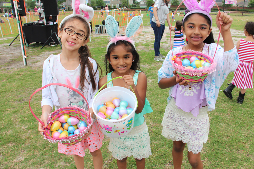 From left to right, Madison Olivereri and Angelina and Alianna Edmond showed off their full Easter baskets.