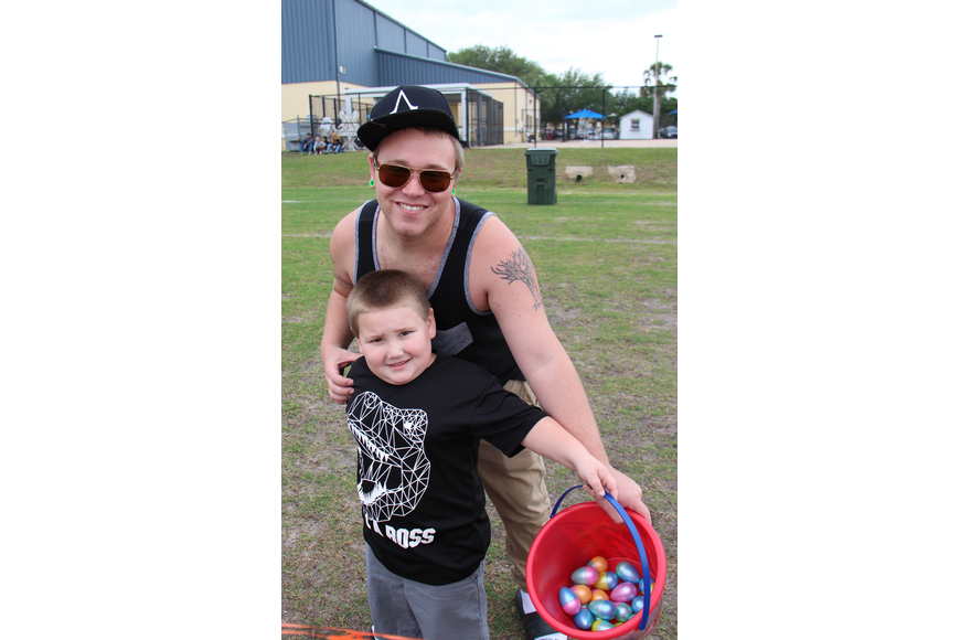 Caleb Wandrey and his step son Aiden Kenny enjoyed the Easter Egg hunt.