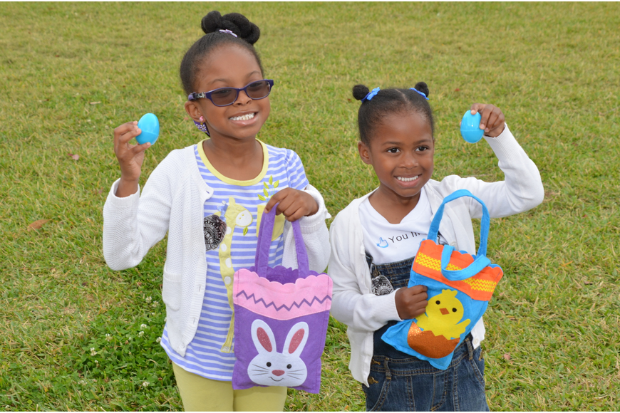 Sariel Phillips, 5, and Zion Phillips, 4, were happy with their finds.