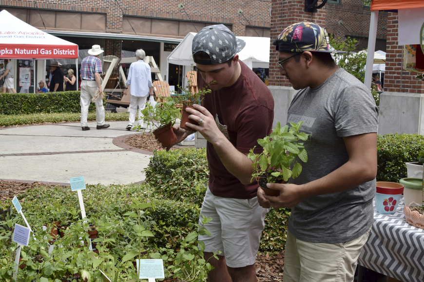 Windermere residents Gavin Hatch (right), and Patrick Santos deliberate on which plants to purchase.