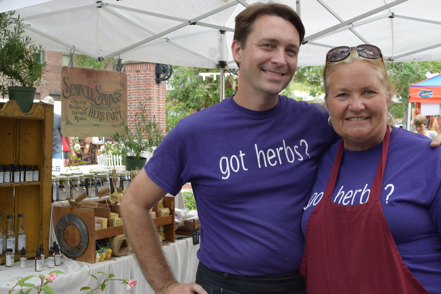 Seminole Springs Herb Farm's tent, manned by Mike Christian and Tracie Anderson, was a popular vendor.