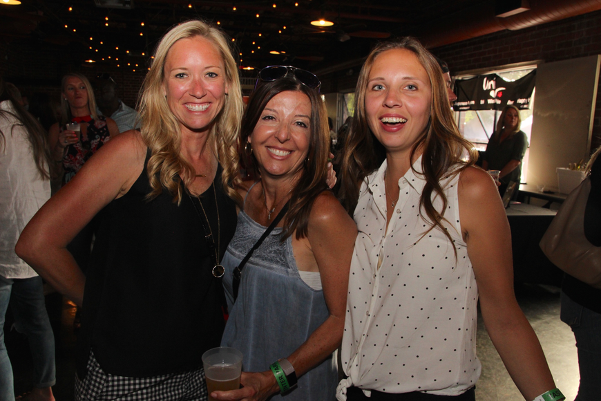Jenn Johnson, Margie Morris and Sarah Palmer kept cool inside the Farmers Market.
