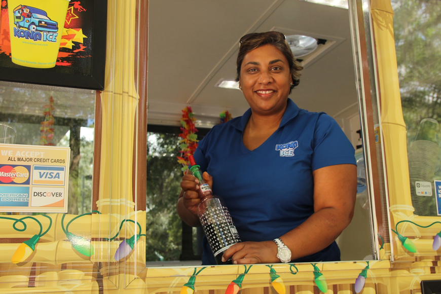 Preya Shivdat kept people happy with her Kona Ice.