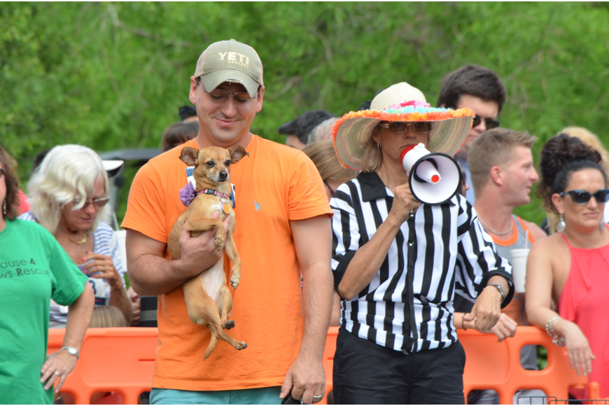 Owners give their dogs a pep talk before their individual races.