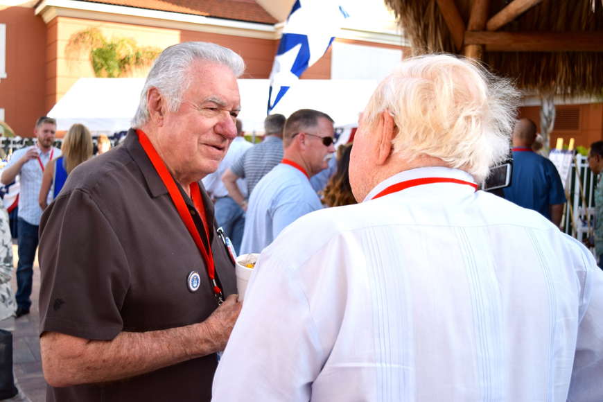 Westgate Resorts CEO David Siegel chats with retired U.S. Air Force Col. Joe Kittinger.