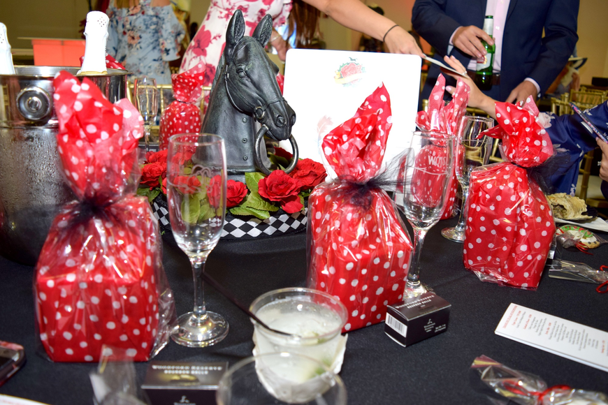 This table was elaborately decorated in a true Kentucky Derby theme.