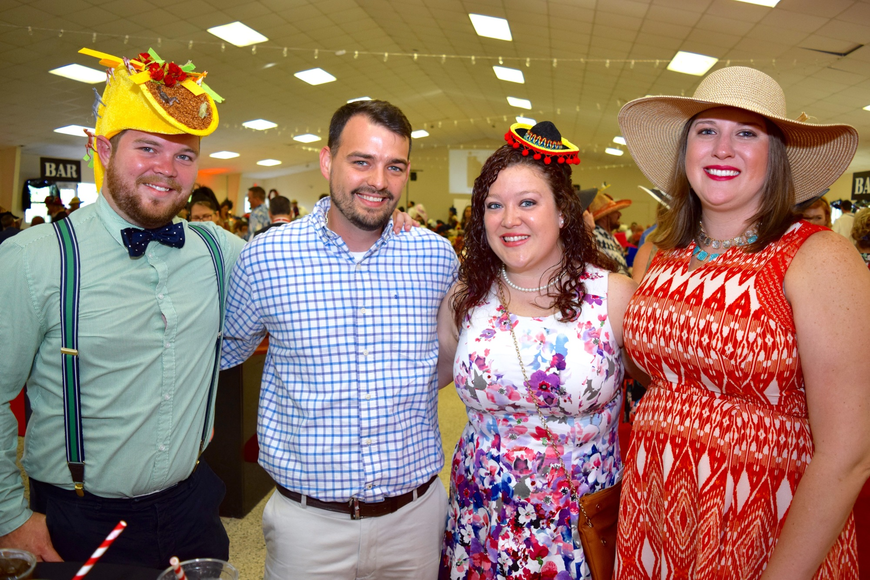 Brooks Lopez, Troy and Nicole Stalker and Allison Lopez had some fun combining Cinco de Mayo and Derby Day to create their hats.