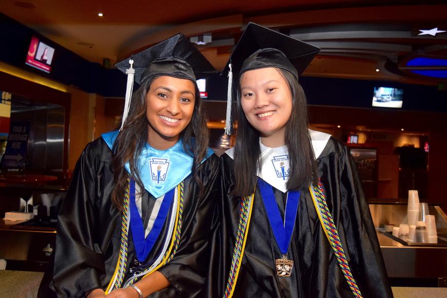 Chhaya Patel and Michelle Liu waited patiently to begin filing into the arena.