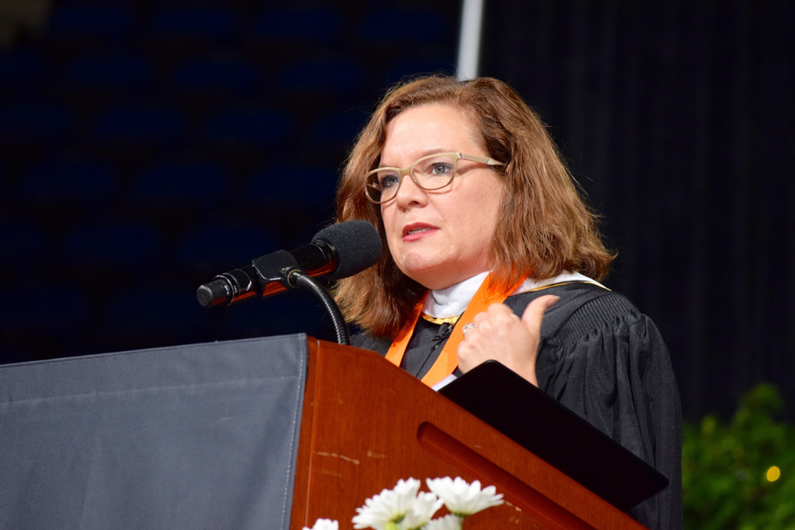 OCPS District 4 School Board Member Pam Gould spoke to the graduates.