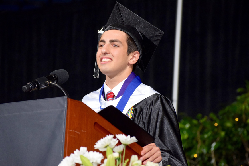 Valedictorian Michael Thomas Russo inspired classmates with his speech.