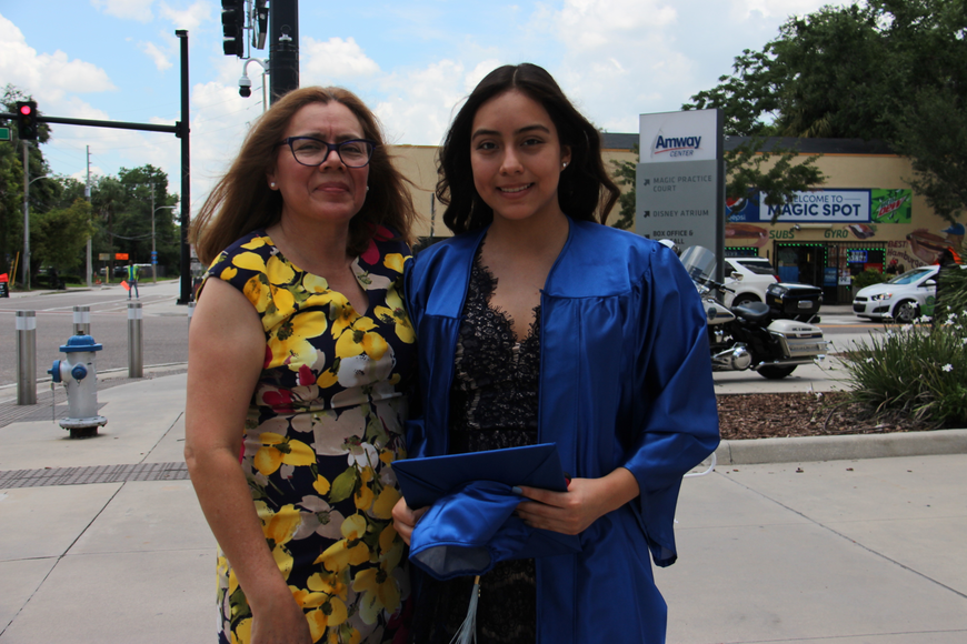 Luz Jimenez, left, was proud of her daughter Paola Hernandez for graduating.