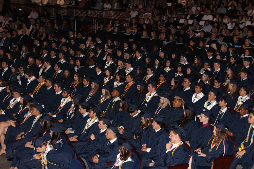 Windermere Preparatory School's class of 2018 heard sat patiently as they waited to graduate.