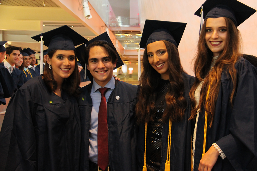 Left to right: Victoria Braga, Leonardo Pimentel, Isabella Dias and Kateryna Tymofeieva caught up before the ceremony.