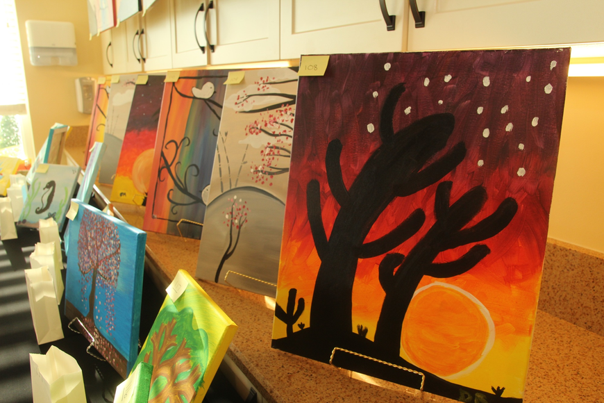 A number of resident-created paintings were on display.
