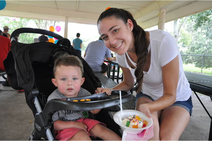 Parker, 1, and Ariel Leyva had a nice afternoon together eating ice cream.