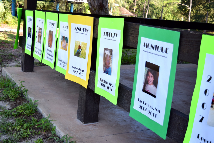 Posters featuring the names and faces of children who are either battling or have lost their lives to cancer lined the walkways.