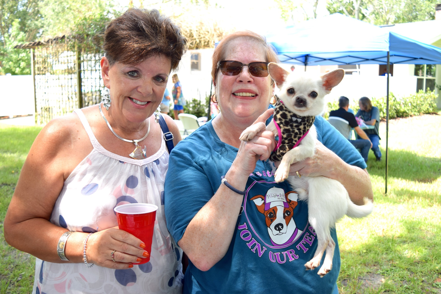 Madeleine Smalley and Ellen Winter loved on Chuckie, a chihuaha.
