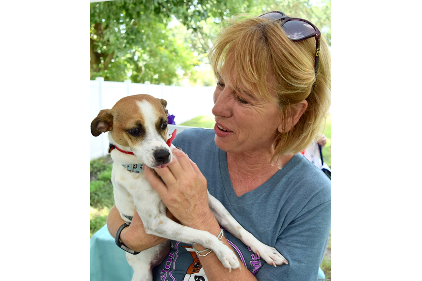 Polka Dogz Pet Rescue founder Heidi Hardman gives Maverick some love.