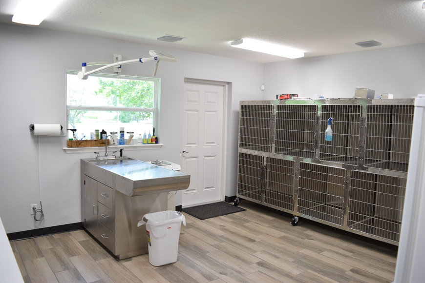 Kennels and a special surgery area are located in one of the back rooms.