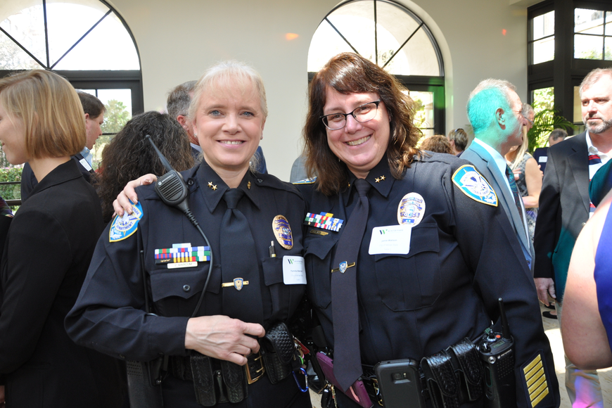 Officers Pam Marcum and Jamie Watson of the Winter Park Police Department mingled with guests before the State of the City Luncheon.