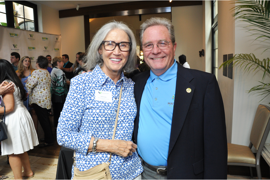 Janice Fuller and Maitland Mayor Dale McDonald enjoyed the social time before the luncheon.